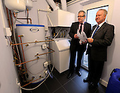 this image is FREE to USE - Alex Neil - Cabinet Secretary for Infrastructure and Capital Investement - photographed with Principal Stewart McKillop (right) viewing the ground-source heating system - at Aurora House (the South Lanarkshire College specialist Eco-house) at the start of the Greener Homes Summit being hosted at the College today. Mr Neil welcomed representatives from Scotland's house-building industry and financial institutions to discuss how to provide more affordable eco-friendly homes in Scotland - for further information please contact Iain V Monk - Scottish Government Senior Communications Officer - on 07771 555 601 - picture by Donald MacLeod  23.11.11  clanmacleod@btinternet.com 07702 319 738 donald-macleod.com