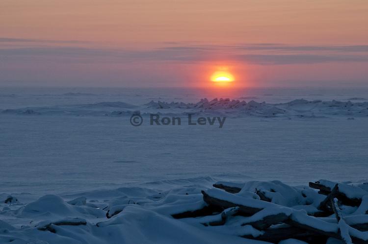 Arctic sunset at minus 30 degrees along Bering Sea, Alaska