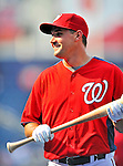 21 June 2011: Washington Nationals third baseman Ryan Zimmerman awaits his turn in the batting cage prior to a game against the Seattle Mariners at Nationals Park in Washington, District of Columbia. The Nationals rallied from a 5-1 deficit, scoring 5 runs in the bottom of the 9th, to defeat the Mariners 6-5 in inter-league play. Mandatory Credit: Ed Wolfstein Photo