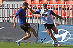 Atletico de Madrid's Yannick Carrasco (l) and Mario Hermoso during training session. May 29,2020.(ALTERPHOTOS/Atletico de Madrid/Pool)