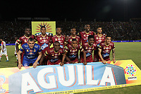 IBAGUÉ - COLOMBIA, 6-12-2017:Formación del Deportes Tolima.Deportes Tolima y el Independiente Santa Fe durante  el primer partido por la semifinal  ida de la Liga Aguila 2017  entre el  Independiente Santa Fe y el Deportes Tolima , jugado en el estadio Manuel Murillo Toro de la ciudad de Ibagué. / Team of Deportes Tolima.  Deportes Tolima  and Independiente Santa Fe, during match of the semifinal round of the Aguila League 2017 between Independiente Santa Fe and Deportes Tolima, played at the Manuel Murillo stadium of the city of Ibague: Vizzorimage / Felipe Caicedo / Staff