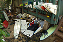 Broken Surfboards at Volcom House on the North Shore in Hawaii
