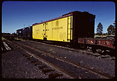 D&amp;RGW refrigerator car #163 with 2 stock cars and flat car.<br /> D&amp;RGW