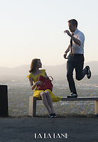 La La Land (2016)<br /> Behind the scenes photo of Emma Stone &amp; Damien Chazelle<br /> *Filmstill - Editorial Use Only*<br /> CAP/KFS<br /> Image supplied by Capital Pictures