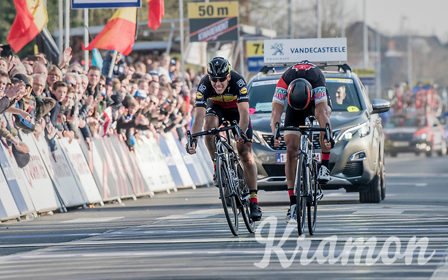 Greg Van Avermaet (BEL/BMC) beating Philippe Gilbert (BEL/Quick Step floors) on the finish line by a bikethrow<br /> <br /> 60th E3 Harelbeke (1.UWT)<br /> 1day race: Harelbeke &rsaquo; Harelbeke - BEL (206km)