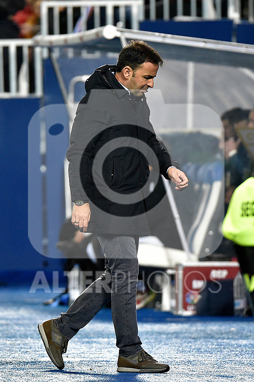 Leganes vs Villarreal coach Javi Calleja dejected during Copa del Rey match. 20180104.