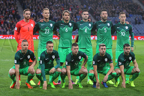 March 26th 2017, Hampden Park, Glasgow, Scotland; World Cup 2018 qualification football, Scotland v Slovenia;  Slovenia players pre match lineup