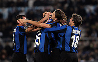 Football, Italian serie A: Lazio vs Inter Milan. Rome, Olympic stadium, 6 december 2008. Inter Milan forward Zlatan Ibrahimovic, of Sweden, second from right, celebrates with teammates, from left, Dejan Stankovic, Walter Samuel and Hernan Crespo, first from right, after scoring..Calcio, Serie A: Lazio vs Inter. Roma, stadio Olimpico, 6 dicembre 2008..UPDATE IMAGES PRESS/Riccardo De Luca