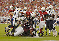 Aug 25, 2007; Glendale, AZ, USA; Arizona Cardinals running back J.J. Arrington (28) against the San Diego Chargers at University of Phoenix Stadium. San Diego defeated Arizona 33-31. Mandatory Credit: Mark J. Rebilas-US PRESSWIRE
