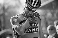 Matteo Tosatto crashed in the sprint..74th Gent-Wevelgem (2012).236km between Deinze & Wevelgem.winner 2012: Tom Boonen..