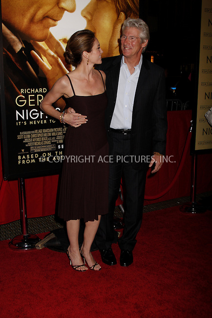 WWW.ACEPIXS.COM . . . . .  ....September 23, 2008. New York City.....Actors Diane Lane and Richard Gere attend the 'Nights in Rodanthe' Premiere held at the Ziegfeld Theatre on September 23, 2008 in New York City.......Please byline: AJ Sokalner - ACEPIXS.COM.... *** ***..Ace Pictures, Inc:  ..Philip Vaughan (646) 769 0430..e-mail: info@acepixs.com..web: http://www.acepixs.com