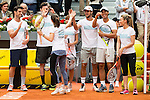 Blue Team, with Martina Hingis, Rudy Fernandez, Aitor Ocio, Mariam Hernandez, Feliciano Lopez, Rafa Nadal and Edurne during the Charity Day of the Mutua Madrid Open at Caja Magica in Madrid. April 29, 2016. (ALTERPHOTOS/Borja B.Hojas)