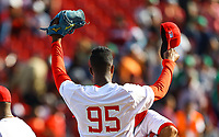 Raidel Martinez pitcher closer of the Alazanes of Granma Cuba, takes the save to win game 6 races by 4, during the baseball game of the Caribbean Series against Caribes de Anzoategui of Venezuela in Guadalajara, Mexico, on Friday, February 2, 2018. (AP Photo / Luis Gutierrez)