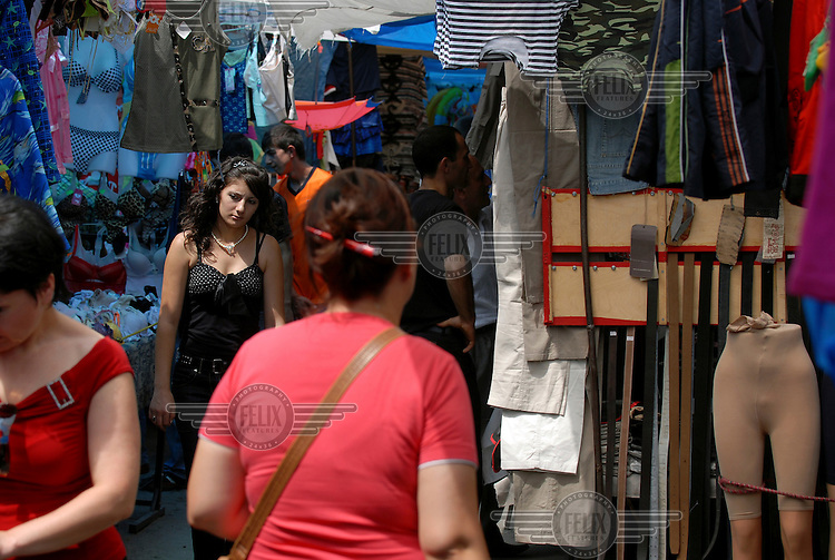 Shoppers in a crowded street market in the centre of Yerevan.