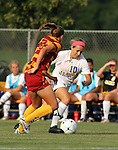 BROOKINGS, SD - AUGUST 23:  Megan Kingston #10 from South Dakota State University looks to make a move past Susie Potterveld #3 from Iowa State in the first half of their game Friday evening at Fischback Soccer Field in Brookings. (Photo by Dave Eggen/Inertia)