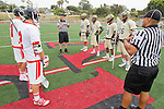 Palos Verdes, CA 05/07/11 - Grant Consoletti (Oak Park #10), Tommy Evans (Oak Park #7), Noboru Kobashigawa (Oak Park #28) and Conner Phillips (Oak Park #36) and Referee Gary Greenbaum during the coin toss ceremony.