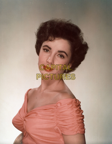 ELIZABETH TAYLOR.headshot portrait pink coral off the shoulder .*Editorial Use Only*.CAP/STF/PEL.Supplied by Capital Pictures.