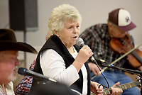 Katy Phillips sings Tuesday, January 14, 2020, a country and western song at the Farmington Senior Activity and Wellness Center. The unnamed band invites musicians and singers of all skill levels to participate in the weekly dance. Check out nwaonline.com/200115Daily/ and nwadg.com/photos for today's photo gallery.<br /> (NWA Democrat-Gazette/David Gottschalk)