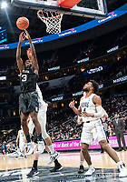 WASHINGTON, DC - JANUARY 28: Kamar Baldwin #3 of Butler goes up for a rebound during a game between Butler and Georgetown at Capital One Arena on January 28, 2020 in Washington, DC.