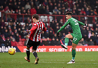 Preston's Callum Robinson takes a shot at goal<br /> <br /> Photographer Jonathan Hobley/CameraSport<br /> <br /> The EFL Sky Bet Championship - Brentford v Preston North End - Saturday 10th February 2018 - Griffin Park - Brentford<br /> <br /> World Copyright &copy; 2018 CameraSport. All rights reserved. 43 Linden Ave. Countesthorpe. Leicester. England. LE8 5PG - Tel: +44 (0) 116 277 4147 - admin@camerasport.com - www.camerasport.com