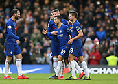 2nd February 2019, Stamford Bridge, London, England; EPL Premier League football, Chelsea versus Huddersfield Town; Eden Hazard of Chelsea celebrates with Gonzalo Higuain, Ross Barkley and Cesar Azpilicueta of Chelsea after scoring his sides 2nd goal from a penalty in the 44th minute to make it 2-0