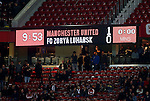 The scoreboard reads Manchester United 1-0 FC Zorya Luhansk at full time during the UEFA Europa League match at Old Trafford Stadium, Manchester. Picture date: September 29th, 2016. Pic Matt McNulty/Sportimage