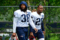 July 27, 2017: New England Patriots running back Brandon Bolden (38) and running back James White (28) walk to the field at the New England Patriots training camp held on the at Gillette Stadium, in Foxborough, Massachusetts. Eric Canha/CSM