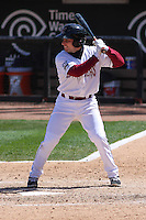 Wisconsin Timber Rattlers catcher Carlos Leal (11) at bat during a game against the Cedar Rapids Kernels on April 23rd, 2015 at Fox Cities Stadium in Appleton, Wisconsin.  Cedar Rapids defeated Wisconsin 3-0.  (Brad Krause/Four Seam Images)