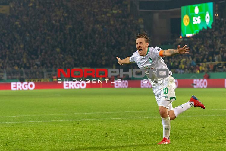 05.02.2019, Signal Iduna Park, Dortmund, GER, DFB-Pokal, Achtelfinale, Borussia Dortmund vs Werder Bremen<br /> <br /> DFB REGULATIONS PROHIBIT ANY USE OF PHOTOGRAPHS AS IMAGE SEQUENCES AND/OR QUASI-VIDEO.<br /> <br /> im Bild / picture shows<br /> <br /> Max Kruse (Werder Bremen #10) tritt zum scheidenen Elfmeter an und Trifft und jubelt <br /> <br /> Foto © nordphoto / Ewert