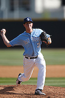 Daniel Reitzler #31 of the University of San Diego Toreros pitches against the Cal State Northridge Matadors at Matador Field on March 26, 2013 in Northridge, California. (Larry Goren/Four Seam Images)