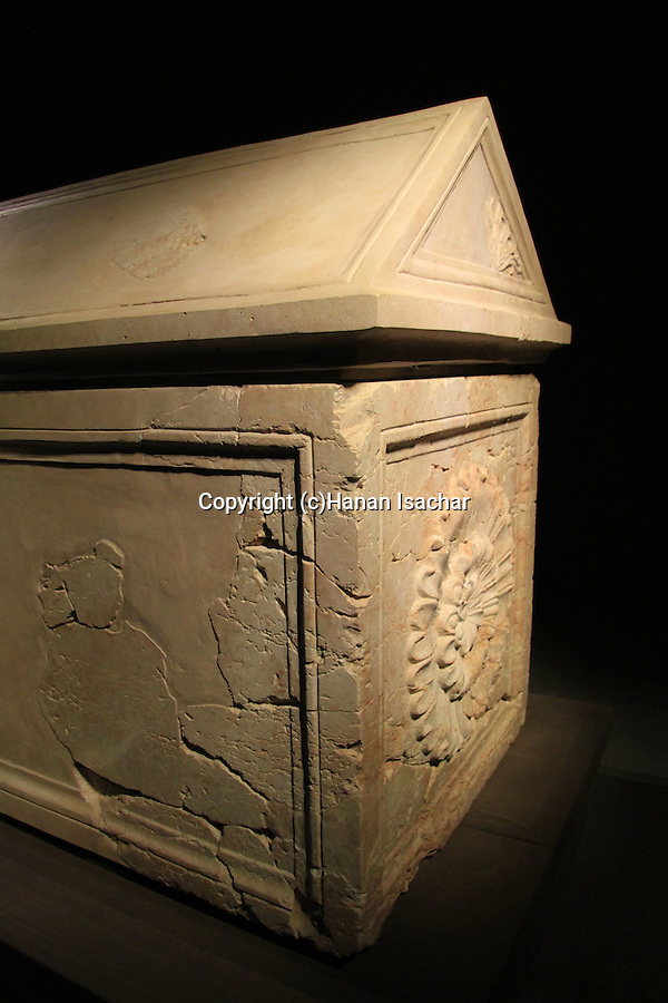 Israel, Jerusalem, King Herod's sarcophagus from his mausoleum in Herodion on display at the Herod the Great: The King's Final Journey exhibition at the Israel Museum