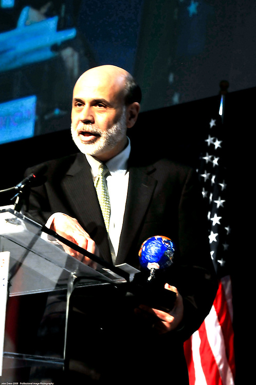 Ben Bernanke, Chairman of Federal Reserve speaks at Int'l Financial Summit in Washington DC at TheArc. Professional Image Photography by John Drew