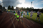 Hibernian captain David Gray with the Scottish Cup, leading his team on to the pitch before a pre-season friendly at Meadowbank Stadium before a pre-season friendly with hosts and Lowland League winners Edinburgh City. The match was City's first at the Commonwealth Stadium since they gained promotion from the Lowland League to the Scottish League in May 2016. A record crowd for a City match of 2500 spectators saw the visitors run out 6-1 winners.