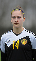 20160211 - TUBIZE , BELGIUM : Belgian Gwen Duijsters pictured during the friendly female soccer match between Women under 17 teams of  Belgium and Switzerland , in Tubize , Belgium . Thursday 11th February 2016 . PHOTO SPORTPIX.BE DIRK VUYLSTEKE