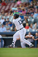 Connecticut Tigers designated hitter Gresuan Silverio (13) follows through on a swing during a game against the Lowell Spinners on August 26, 2018 at Dodd Stadium in Norwich, Connecticut.  Connecticut defeated Lowell 11-3.  (Mike Janes/Four Seam Images)