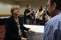 INDIANAPOLIS, IN - January 18, 2013: NWSL Executive Director Cheryl Bailey (left) during an interview. The National Women's Soccer League held its college draft at the Indiana Convention Center in Indianapolis, Indiana during the NSCAA Annual Convention.