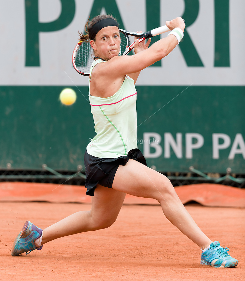 May 28, 2015: Lourdes Dominguez Lino of Spain in action in a 2nd round match against Andrea PETKOVIC of Germany on day five of the 2015 French Open tennis tournament at Roland Garros in Paris, France. Sydney Low/AsteriskImages