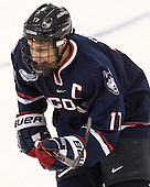 Ryan Tyson (UConn - 17) - The Boston College Eagles defeated the visiting University of Connecticut Huskies 3-2 on Saturday, January 24, 2015, at Kelley Rink in Conte Forum in Chestnut Hill, Massachusetts.