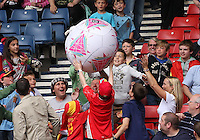 Men's Olympic Football match Spain v Japan on 26.7.12...Fans play with a blow up ball before the Spain v Japan Men's Olympic Football match at Hampden Park, Glasgow...........