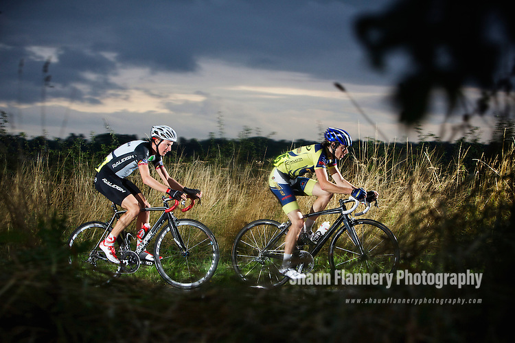 Pix: Shaun Flannery/shaunflanneryphotography.com<br /> <br /> COPYRIGHT PICTURE&gt;&gt;SHAUN FLANNERY&gt;01302-570814&gt;&gt;07778315553&gt;&gt;<br /> <br /> 14th August 2013.<br /> Doncaster Wheelers Cycle Club Summer Road Race.<br /> Pickburn, Doncaster.<br /> L-R Thomas Stewart, Team Raleigh and Tom Murrey, MetalTec.