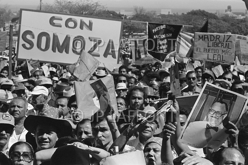 Managua, Nicaragua. February 26, 1978. President Anastasio Somoza spoke at a political rally of the Liberal Party which backs his action, protected by a bullet-proof window. Nicaraguan dictator Anastasio Somoza, who took over from his father Anastasio Somoza Garcia, then his eldest brother Luis, after the latter assassinated their father, ruled as President of Nicaragua between 1967-1972 and again in 1974, until the Sandinista revolution in 1979, which finally put an end to the dictatorial regime of the Somoza family.