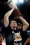 Caja Laboral Baskonia's Mirza Teletovic celebrates the victory in the ACB Finals. June 15,2010. (ALTERPHOTOS/Acero)