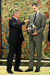 King Felipe VI of Spain (r) receives in audience to the Spanish driver Carlos Sainz winner of the Dakar Rally 2018 at the Zarzuela Palace. April 26,2015. (ALTERPHOTOS/Acero)