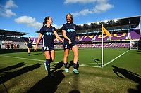 Orlando, FL - Saturday October 14, 2017: Sam Witteman, Makenzy Doniak during the NWSL Championship match between the North Carolina Courage and the Portland Thorns FC at Orlando City Stadium.
