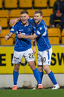 12th February 2020; McDairmid Park, Perth, Perth and Kinross, Scotland; Scottish Premiership Football, St Johnstone versus Motherwell; Callum Hendry of St Johnstone is congratulated after scoring for 1-0 by David Wotherspoon in the 27th minute