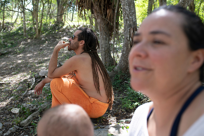Dzibilchaltun cenote and archeological site with friends. Yucatan, Mexico