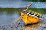 Shored, colorful, wooden dory and oars, Southern Chile, Patagonia, South America