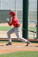 Chase Weems #49 of the Cincinnati Reds plays in a minor league spring training game against the Cleveland Indians at the Indians complex on March 26, 2011 in Goodyear, Arizona. .Photo by:  Bill Mitchell/Four Seam Images.