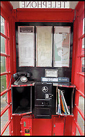 BNPS.co.uk (01202 558833)<br /> Pic: AmberleyPublishing/BNPS<br /> <br /> The modified interior configuration of a K6 kiosk, comprising three rectangular notice frames and a re-positioned emergency services call notice.<br /> <br /> The iconic British phonebox has been given a ringing endorsement in a new book charting the expiring institution's fascinating history. <br /> <br /> Aptly titled 'The British Phonebox', the book primarily focuses on the ubiquitous design that's as emblematic to Britain as the black cab, double decker bus and Houses of Parliament. <br /> <br /> Equally interesting are the early chapters, which detail the phonebox's humble 19th century beginnings and the final ones, that bemoan their dwindling numbers <br /> <br /> The 96 page paperback, jointly authored by friends Nigel Linge and Andy Sutton, is published by Amberley and costs &pound;13.49.