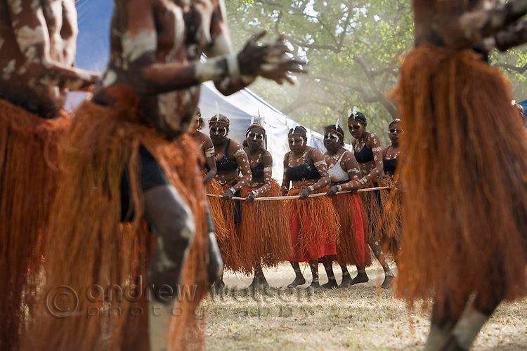 Women from the Aurukun dance troupe performing at the Laura Aboriginal Dance Festival.  Laura, Queensland, Australia